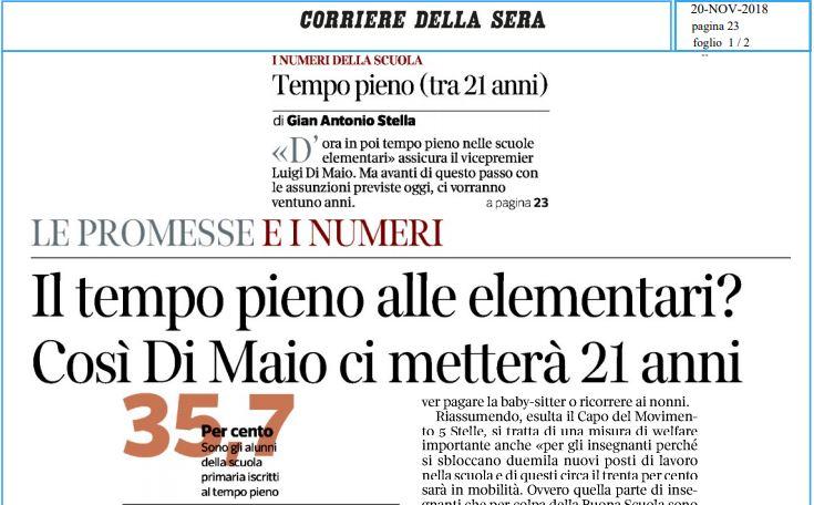 Stella, Corriere della Sera: Il tempo pieno alle elementari? Così Di Maio ci metterà 21 anni