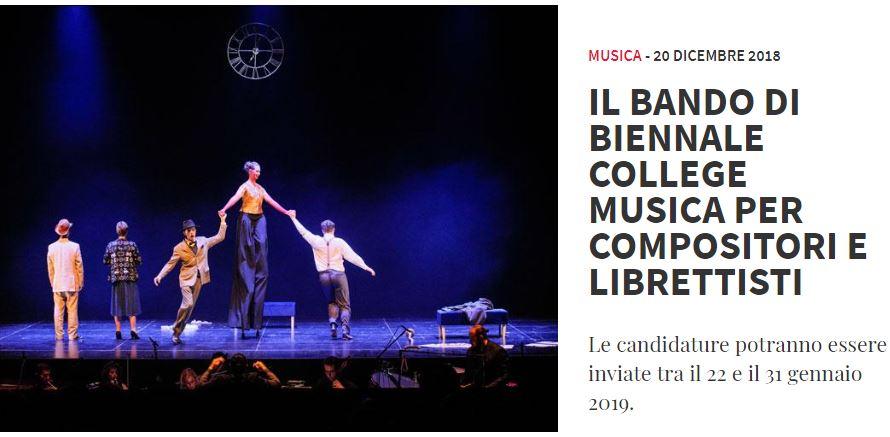 La Biennale di Venezia: bando per compositori e librettisti under 35