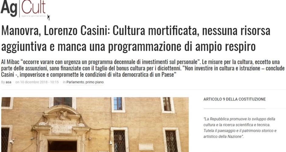 Manovra, Lorenzo Casini: Cultura mortificata, nessuna risorsa aggiuntiva e manca una programmazione di ampio respiro