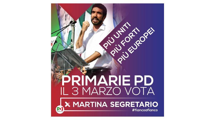Primarie PD: il 3 marzo vota per Martina Segretario
