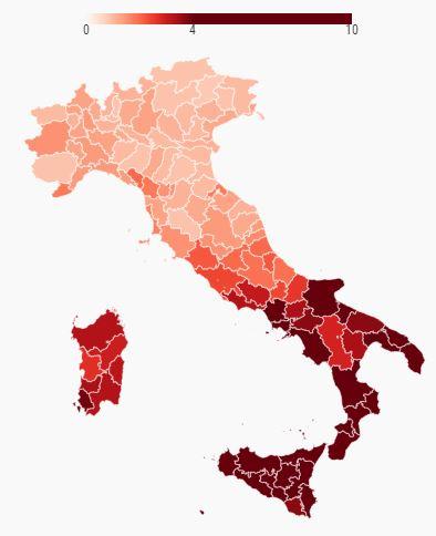 Percentuale di famiglie in potenziale disagio economico nelle province (2011)