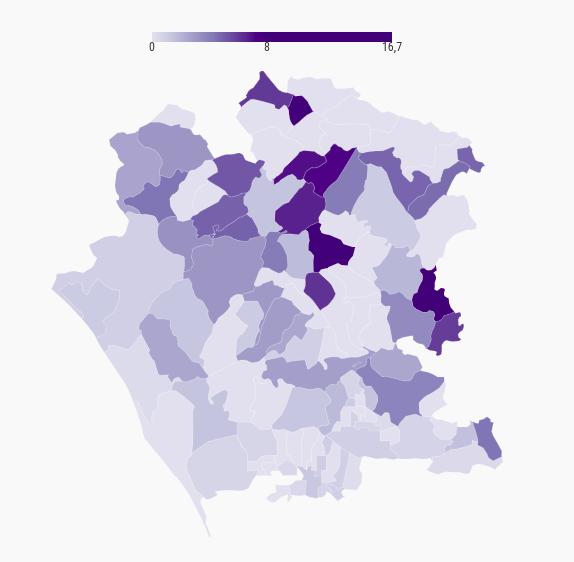 Numero di biblioteche ogni 1.000 residenti 6-17 anni nei comuni della provincia di Caserta (2019)