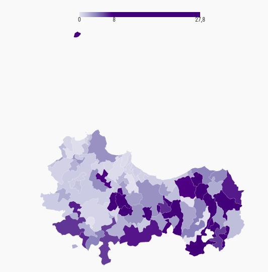 Numero di biblioteche ogni 1.000 residenti 6-17 anni nei comuni della città metropolitana di Palermo (2019)