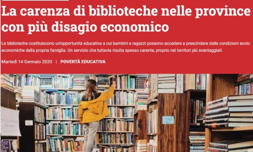 Openpolis: la carenza di biblioteche nelle province con più disagio economico