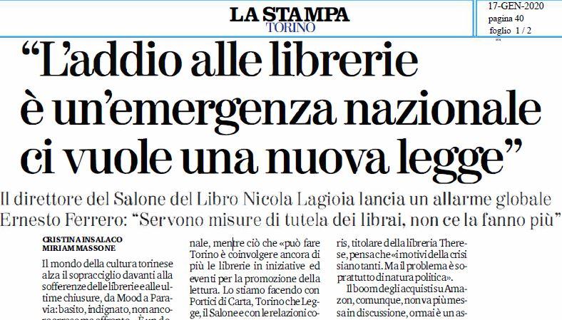 """La Stampa Torino: """"L'addio alle librerie è un'emergenza nazionale ci vuole una nuova legge"""""""