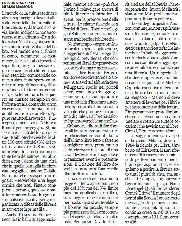 Stampa Torino L'addio alle librerie è un'emergenza nazionale 17gen20