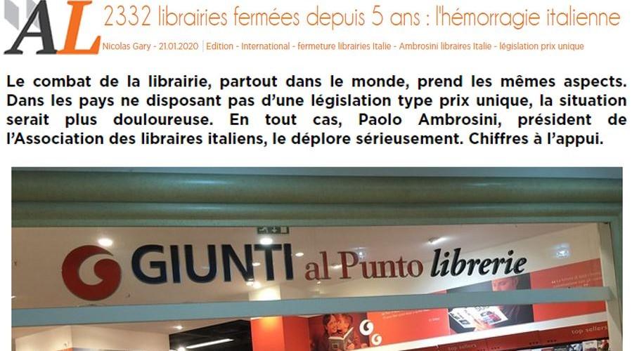 2332 librairies fermées depuis 5 ans: l'hémorragie italienne