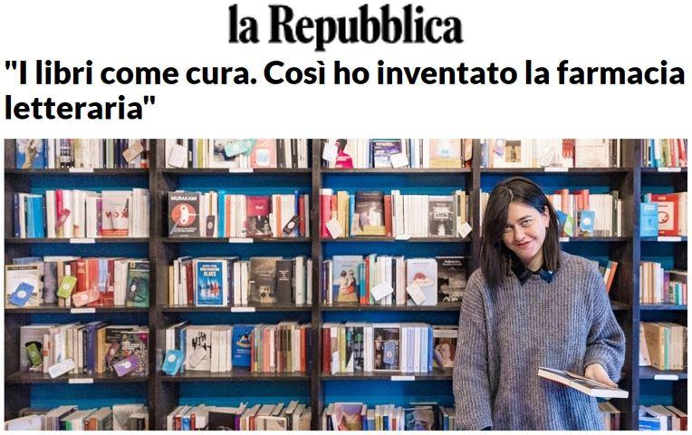 """la Repubblica: """"I libri come cura. Così ho inventato la farmacia letteraria"""""""