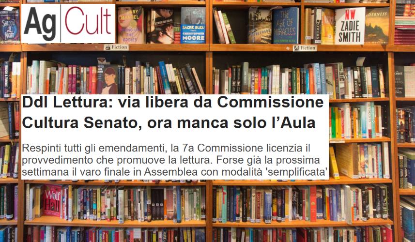 Ddl Lettura, AgCult: via libera da Commissione Cultura Senato, ora manca solo l'Aula