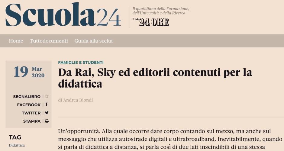 Scuola24: da Rai, Sky ed editorii contenuti per la didattica