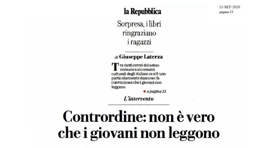 """la Repubblica, Laterza: """"Contrordine: non è vero che i giovani non leggono"""""""